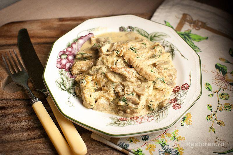 индейка с грибами в сливочном соусе калорийность